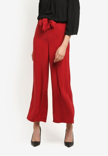 WAREHOUSE red Int Tie Belted Wide Leg Trousers WA653AA0RSPYMY_1