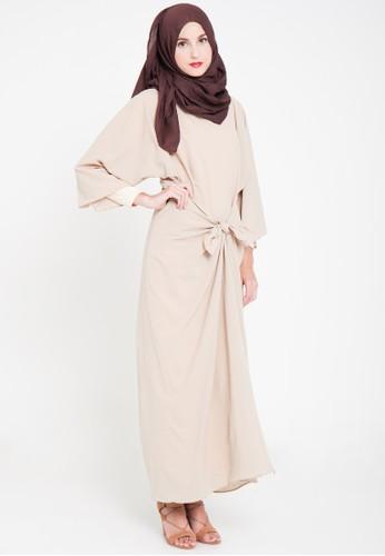 TITAN'S WARDROBE beige Tied Dress in Beige TI407AA44AXRID_1