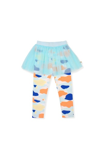 OETEO blue and multi Camo Flash Tulle Skirt Leggings (Blue) 7322DKA72445F4GS_1