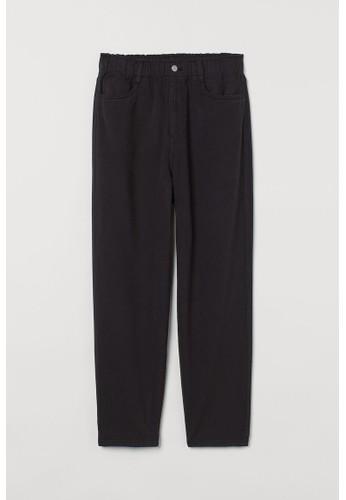 H&M black High Waist Twill trousers 0A4B7AAAC721CEGS_1