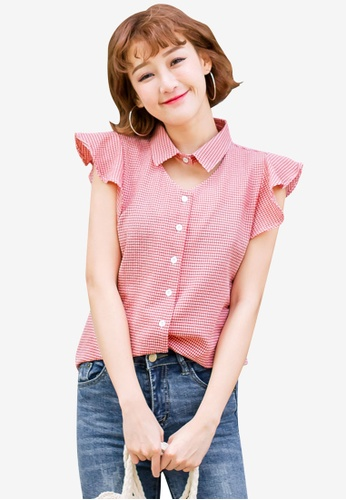 Tokichoi red Ruffle Detail Check Blouse 386D9AA4CF4493GS_1