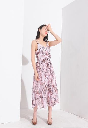 Zafiti multi Floral Chiffon Strap Dress 82292AABD2AE71GS_1