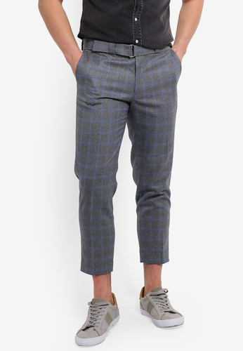 fbcc6493369 Buy Topman Grey Check Slim Crop Trousers Online on ZALORA Singapore