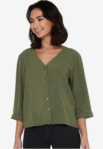 JACQUELINE DE YONG green Capote 3/4 Shirt 25F84AAAB4ADE1GS_1