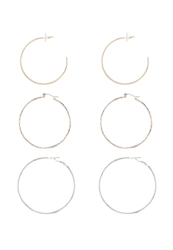 River Island 多色 Mixed Pave Clean Hoops Pack 7FE46AC6FA17A0GS_1