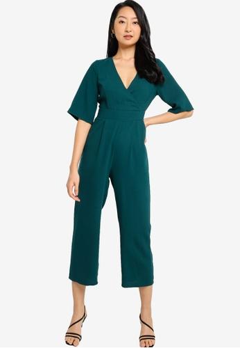 ZALORA BASICS 綠色 寬袖連身褲 A5C2AAA3BEAF81GS_1