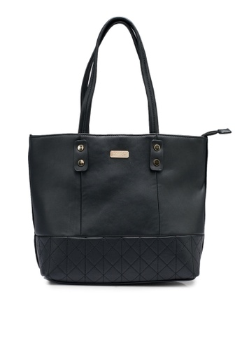 Unisa black Faux Leather Quilted Tote Bag 1E10FAC36717B6GS_1