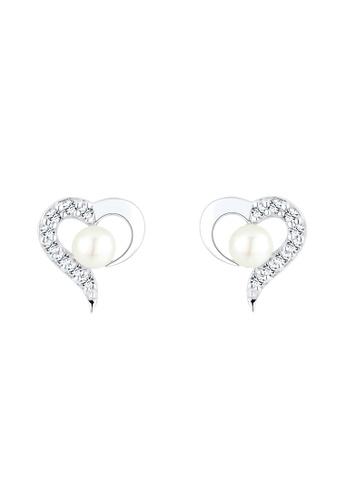 Elli Germany silver Elli Germany 925 Sterling Silver Heart Swarovski® Crystals Freshwarter Pearl Earrings EL474AC0S200MY_1