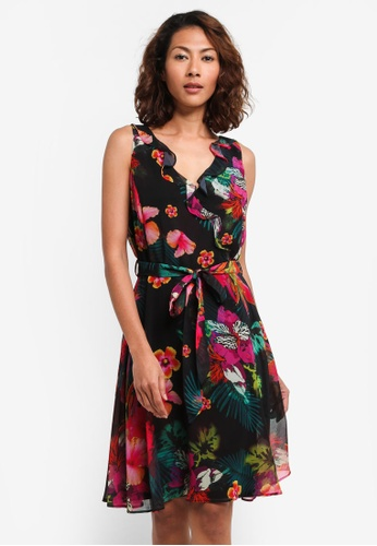 Wallis black Black Tropical Ruffle Fit And Flare Dress 6A80EAA714ED51GS_1
