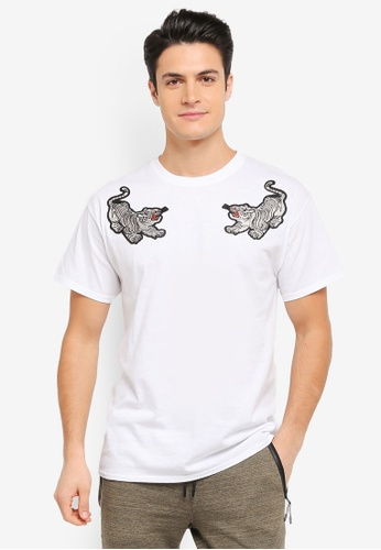 Topman white White Tiger Applique T-Shirt TO413AA0T1NFMY_1