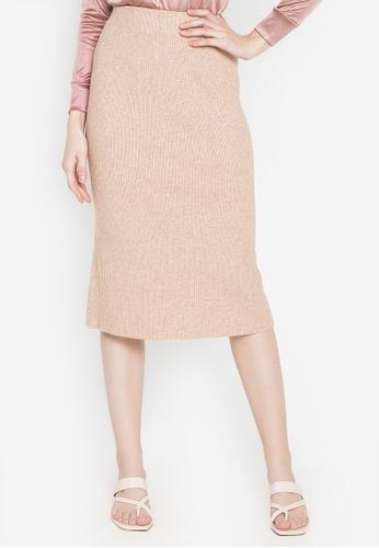 Chictees beige Sharon Knitted Midi Skirt 2C3DFAA00B8A04GS_1