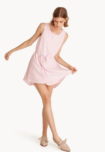 Pomelo pink Sleeveless Drawstring Mini Dress - Pink 4AA74AACA9258FGS_1