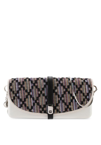 Hoola Hoola white Camilla Clutch - White Black ZigZag with Snake Chain 85991AC035436DGS_1