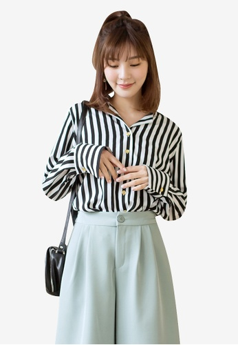 Tokichoi black and multi Buttoned Up Striped Shirt 2C9B2AAC69BD1AGS_1