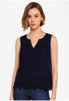 66e4e771863cdb GAP navy Eyelet Embroidered Top 8F373AA5C6F6BAGS 1