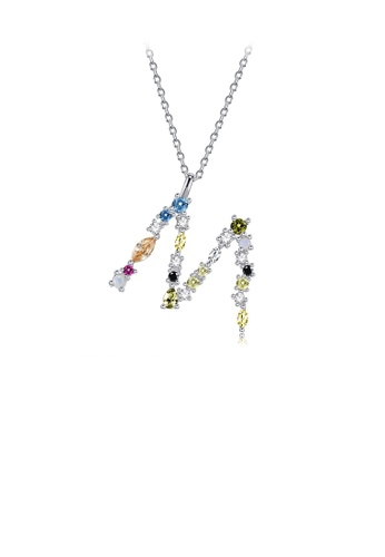 Glamorousky silver 925 Sterling Silver Fashion Simple Color English Alphabet M Pendant with Cubic Zirconia and Necklace C194FACDF9D3EEGS_1