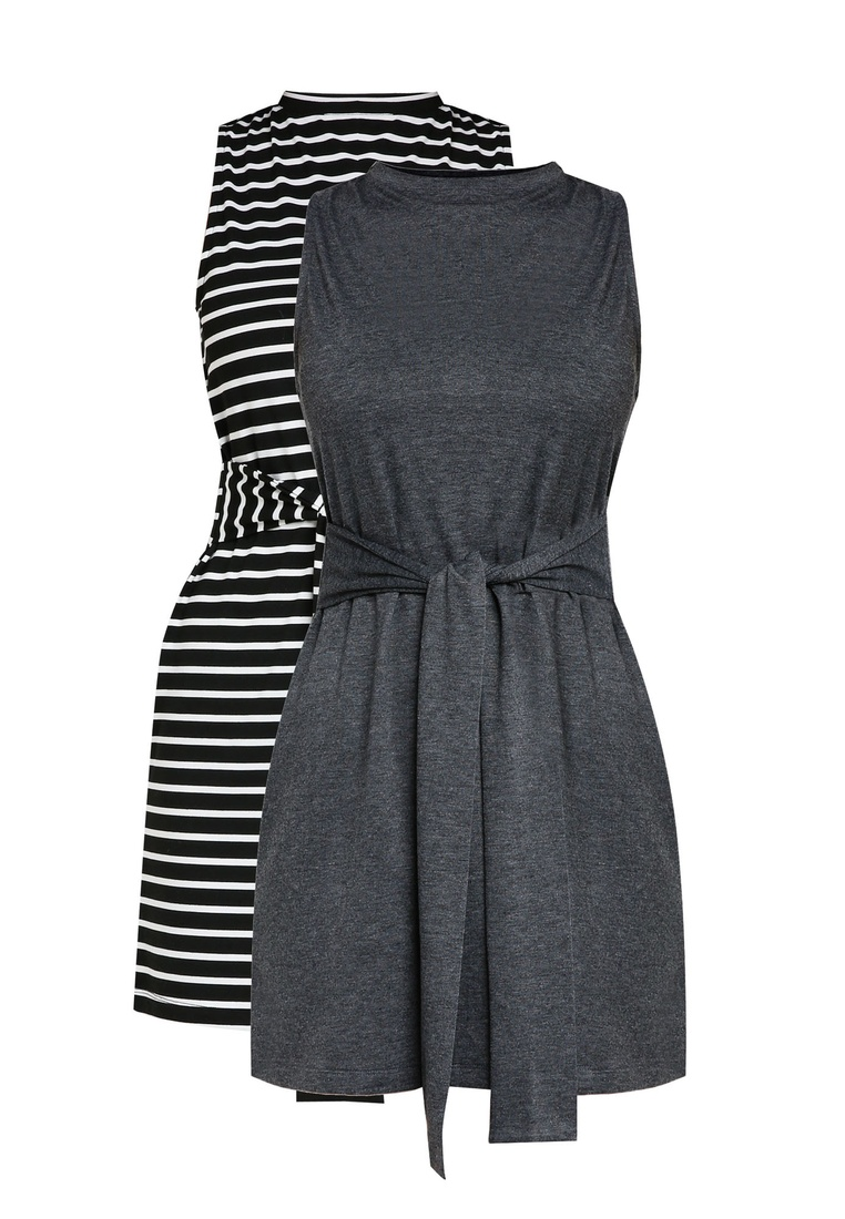 2 Grey BASICS Black Waist with Marl Tie White Dress ZALORA Stripe pack Basic Mini qAqxwrpT