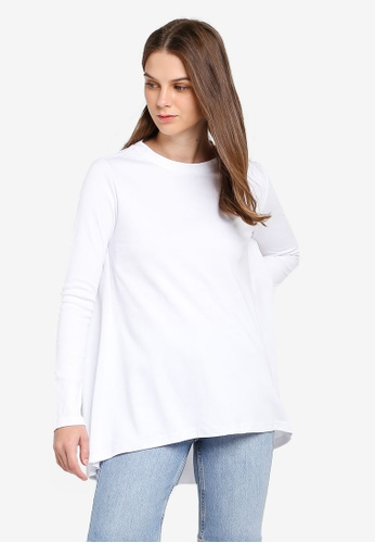 UniqTee white Desconstructed Stepped Hem Long Sleeve Top 8E857AA4A66E3AGS_1