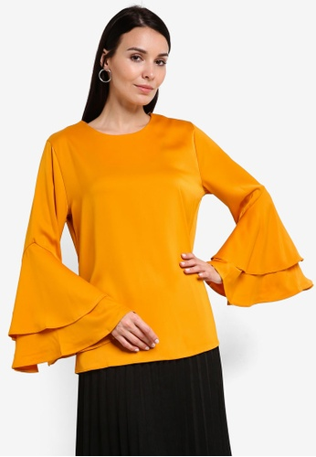 BYN gold 2-Layer Flare Sleeve Top BY059AA64VJJMY_1