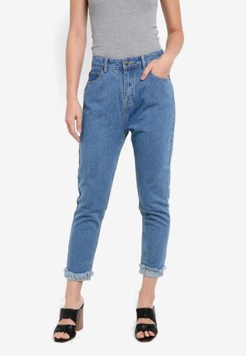 ZALORA blue Frayed Hem Slim-Fit Mom Jeans 48CEDZZ5A59DE1GS_1