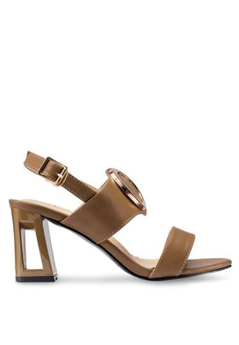 Berrybenka 褐色 金屬環高跟涼鞋 B40E3SH4F98A31GS_1