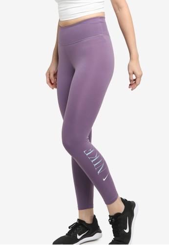 Nike purple One Dri-FIT Graphic 7/8 Tights 1C251AAD8CB537GS_1