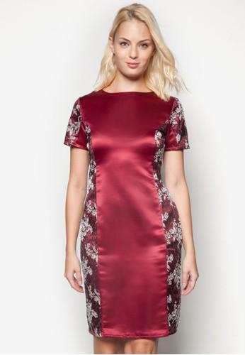 印花拼接esprit 京站短袖連身裙, 服飾, 洋裝