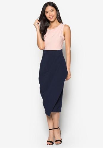 撞色裹飾裙擺及膝洋裝, 服飾, esprit outlet hong kong洋裝