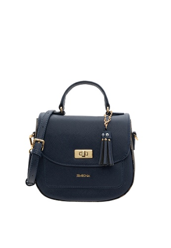 SEMBONIA blue SEMBONIA Synthetic Leather Trimmed Coated Canvas Satchel Bag (Blue) SE598AC16OPJMY_1