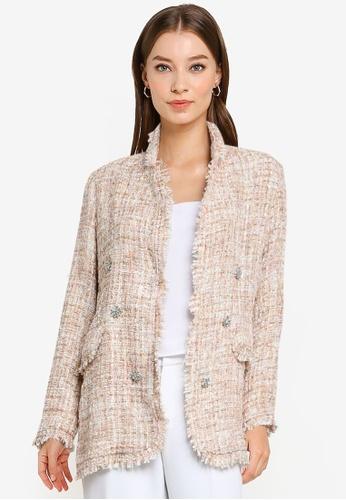 ZALORA OCCASION beige Gem Detailed Tweed Blazer C783BAA7A9E712GS_1
