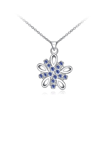 Glamorousky blue Fashion Simply Flower Pendant with Blue Cubic Zircon and Necklace CB88FACB5C5F26GS_1