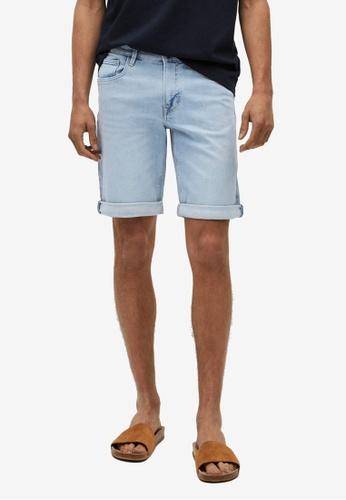 MANGO Man blue Light-Wash Denim Shorts 3C0C2AA41A220FGS_1