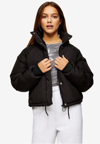 TOPSHOP black Petite Black Padded Puffer Jacket 9DFD2AA28D7BF1GS_1