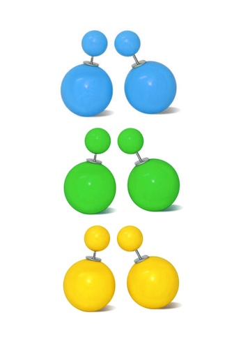Fur Nyce multi 3 pairs Double Faced Colourful Ball Stud Earrings Set FU779AC42WVXMY_1