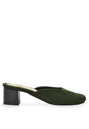 Urban Looks black and green Gwen Army Green Suede Mule Mid Low Heels E1251SHC126410GS_1