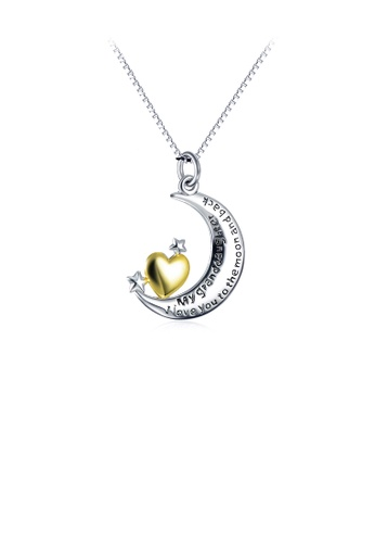 Glamorousky silver 925 Sterling Silver Fashion Elegant Moon Golden Heart Pendant with Necklace C3AF6AC99D0E64GS_1