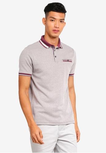 Burton Menswear London 紅色 短袖條紋滾邊POLO衫 E848AAAC2F4EA9GS_1