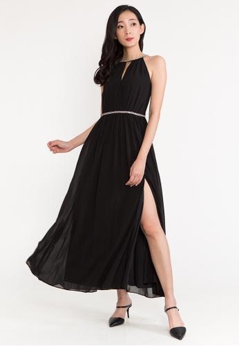 BEBEBEIGE black BebeBeige Halter Neck Sleeveless Walking Slit Maxi Evening Long Dinner Dress 4506EAA53C6DA2GS_1