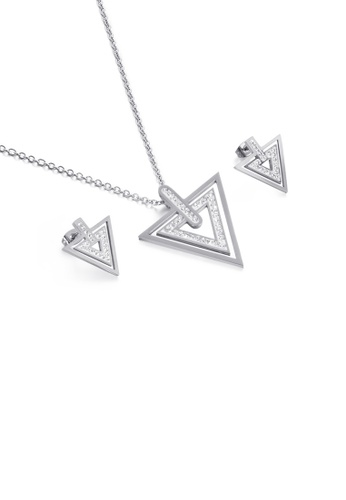 Glamorousky white Fashion Personality Geometric Triangle 316L Stainless Steel Necklace and Earrings Set with Cubic Zirconia 5E565ACE9FD593GS_1
