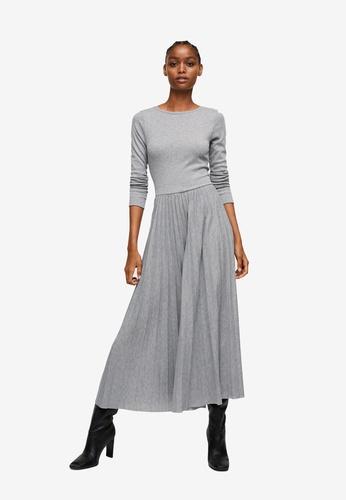 Mango grey Pleated Knitted Dress 2C340AAAC45F39GS_1