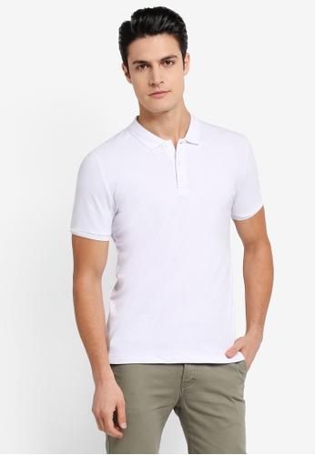 ZALORA white Pique Button Down Polo Shirt 6C7EBAAE676A6FGS_1