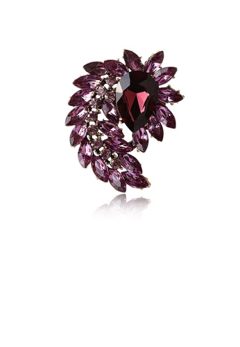 Glamorousky purple Elegant and Bright Plated Gold Geometric Pattern Purple Cubic Zirconia Brooch E0B42AC619761AGS_1