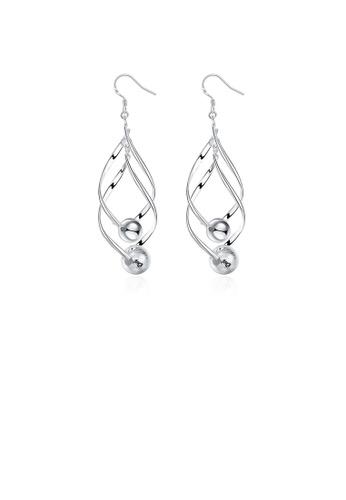 Glamorousky white Simple Fashion Double Leaf Round Bead Earrings 722F2ACBDD2778GS_1