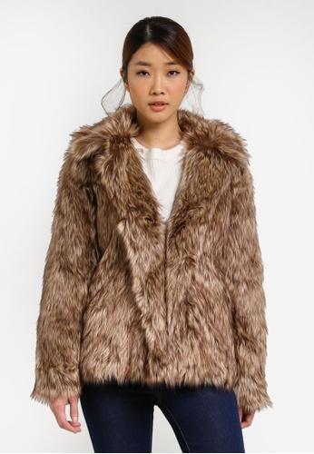 Miss Selfridge brown and beige Faux Fur Coat MI665AA0SHV8MY_1