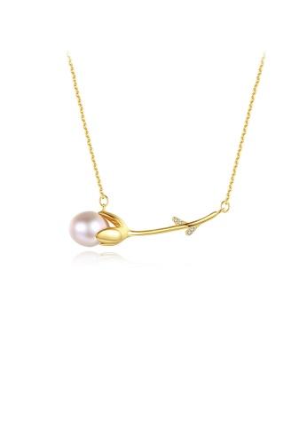 Glamorousky purple 925 Sterling Silver Plated Gold Elegant Simple Flower Purple Freshwater Pearl Necklace 6DE21AC60EEB97GS_1