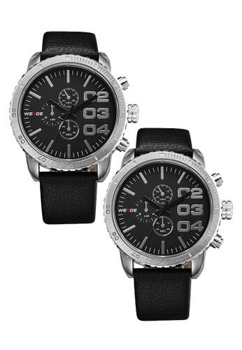 Weide black Bundle 2 Units Weide WH3310 Men's Military Leather Watch Black WE079AC0RQTGMY_1