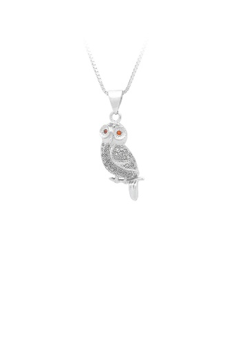 Glamorousky silver 925 Sterling Silver Owl Pendant with White Cubic Zircon and Necklace EE65AACBB222A0GS_1