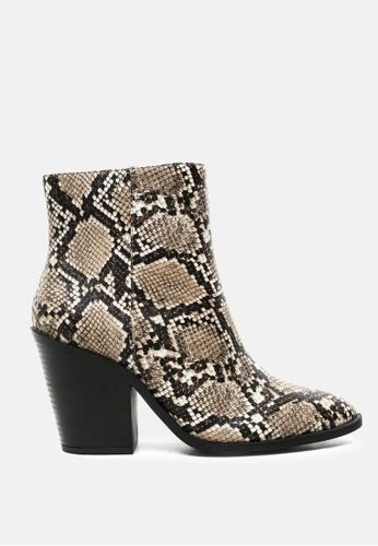 London Rag beige Snake Print Block Heel Ankle Boot C9791SH8A09619GS_1