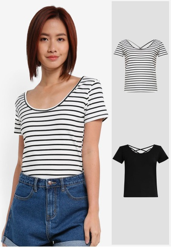 ZALORA black and white and multi 2 Pack Scoop Neck Tee With Back Straps ZA919AA0IMK2SG_1