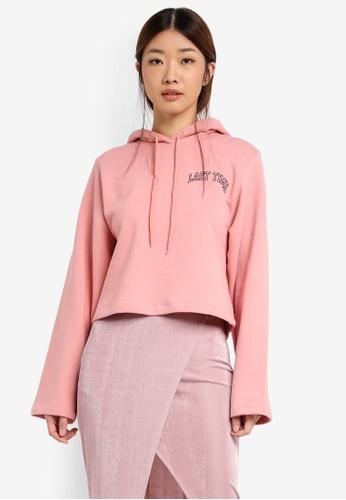 Stylenanda pink Extended Sleeve Lettering Print Hoodie ST343AA0SXJHMY_1